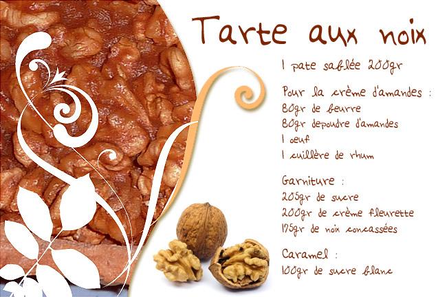 Recette de tarte aux noix au caramel. Dordogne
